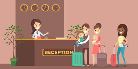 Illustration pour People standing in queue at the hotel reception. Room reservation or booking. People on a vacation. Flat vector illustration - image libre de droit