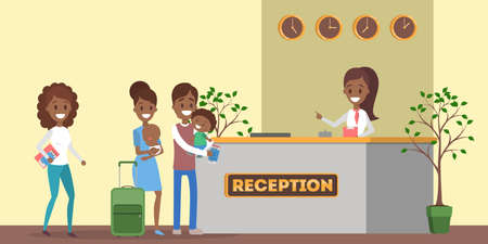 Illustration pour African american people standing in queue at the hotel reception. Room reservation or booking. People on a vacation. Flat vector illustration - image libre de droit