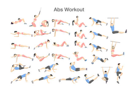 Illustration pour ABS workout for men and women. Sport exercise for perfect abs. Fit body and healthy lifestyle. Muscle training. Isolated vector illustration - image libre de droit