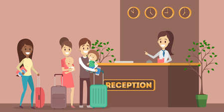 Illustration pour African american people standing in queue at the hotel reception interior. Room reservation or booking. People on a vacation. Flat vector illustration - image libre de droit