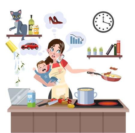 Illustration pour Busy multitasking mother with baby failed at doing many thing at once. Tired woman in stress with messy around. Housewife lifestyle. Isolated flat vector illustration - image libre de droit