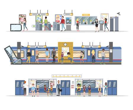 Illustration pour Subway interior with train and railway set - image libre de droit