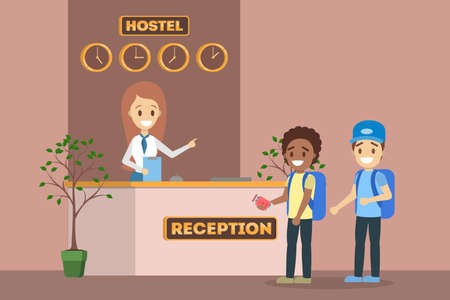 Illustration pour Children standing in queue at the hostel reception interior. Room reservation or booking. Young guest travel. Flat vector illustration - image libre de droit