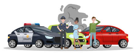 Illustration pour Car accident on the road. Automobile damage or auto crash. Safety on the street. Isolated flat vector illustration - image libre de droit