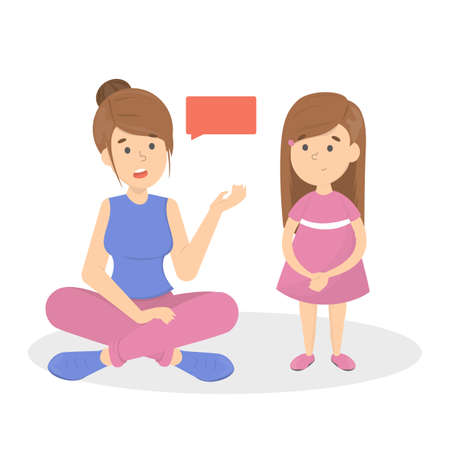 Illustration for Mother talk to a little child. Parent with a kid in a friendship. Family together. Isolated vector flat illustration - Royalty Free Image