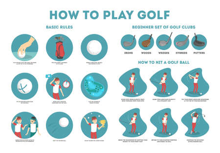 Illustration pour How to play golf guide for beginners. Basic rules and set of golf club. Man player on the field with ball. Golf lesson. Flat vector illustration - image libre de droit