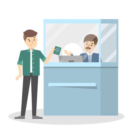 Ilustración de Man standing in the airport at passport control. - Imagen libre de derechos