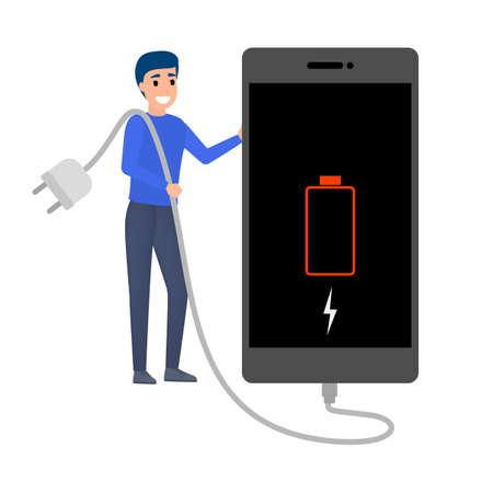 Ilustración de Smartphone with low battery indicator. Phone need a charge. Sign on digital display. Flat vector illustration - Imagen libre de derechos