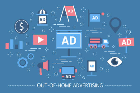Illustration for Out-of-home advertising concept. Billboard banner and street poster - Royalty Free Image