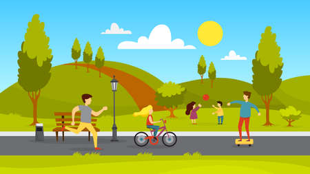 Ilustración de People in the public park. Jogging and playing in the city park. Summer activity. Vector illustration in cartoon style - Imagen libre de derechos