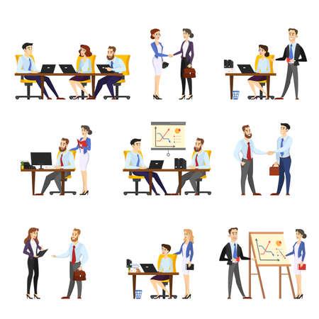 Ilustración de Office worker set. Collection of business people - Imagen libre de derechos