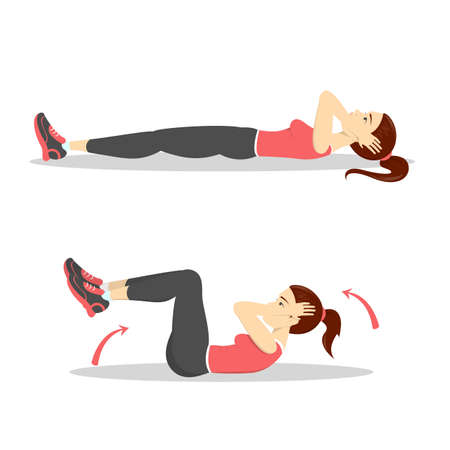 Illustration pour Woman doing crunches in the gym. Belly burn workout. Girl make exercise. ABS workout. Healthy and active lifestyle. Isolated vector illustration - image libre de droit