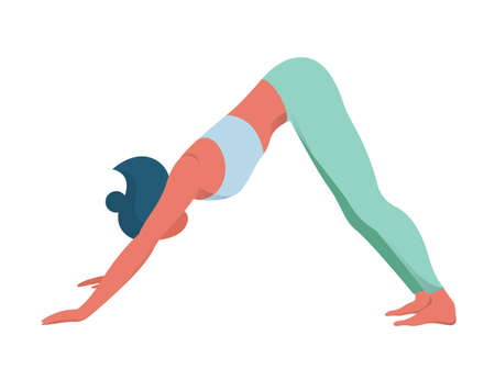 Illustration pour Woman in yoga position. Adho mukha svanasana or downward dog pose. Stretching and relaxation. Idea of active and healthy lifestyle. Vector flat illustration - image libre de droit