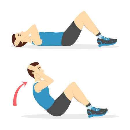 Illustration pour Man doing crunches in the gym. Belly burn workout. Guy make exercise. ABS workout. Healthy and active lifestyle. Isolated vector illustration - image libre de droit