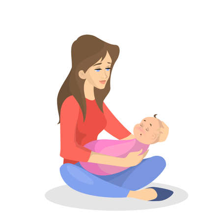 Illustration pour Young mother holding sleeping newborn child. Baby care concept. Woman with kid. Isolated vector illustration in cartoon style - image libre de droit