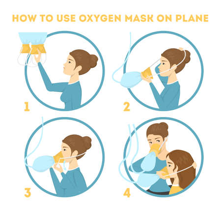 Ilustración de How to use oxygen mask on the plane in emergency case. Flight instruction. Passenger showing process of breathing mask usage. Isolated vector illustration in cartoon style - Imagen libre de derechos