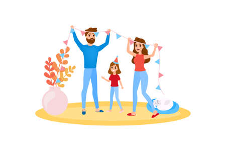 Ilustración de Family decorate home together. Happy girl have fun. Mother and father spend time with child. Isolated vector illustration in cartoon style. - Imagen libre de derechos