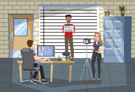 Illustration pour Police station office interior. Police officer in uniform make photo of the suspect. Law and justice, legal system. Criminal stand at the wall. Vector illustration in cartoon style - image libre de droit