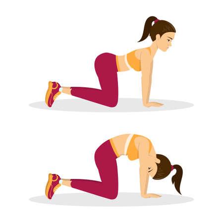 Illustration pour Woman doing cat cow exercise. Back stretch - image libre de droit