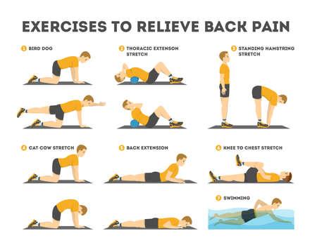 Ilustración de Exercise set to relieve back pain. Stretching and training - Imagen libre de derechos