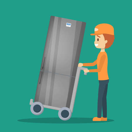 Illustration for Delivery man in uniform with refrigerator. Courier - Royalty Free Image