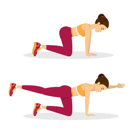 Illustration for Woman doing bird dog exercise. Exercise for balance, back and ABS. Fitness and healthy lifestyle. Back pain reduce. Training for muscle. Isolated vector illustration in cartoon style - Royalty Free Image
