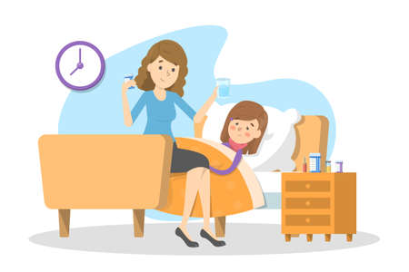 Illustration pour Mother gives pills to a sick child with fever. Ill kid lying in the bed under blanket. Girl suffer from flu or cold. Isolated vector illustration in cartoon style - image libre de droit