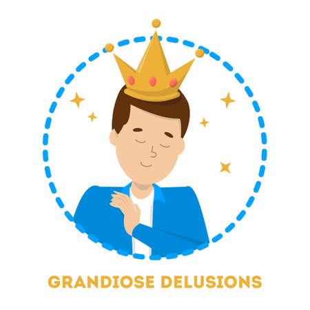 Grandiose delucion as symptom of schizophrenia and bipolar disorder