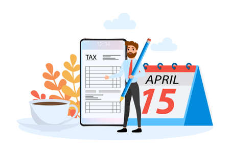 Tax concept. Idea of accounting and payment. Financial bill. Data in the document and paperwork. Flat vector illustration