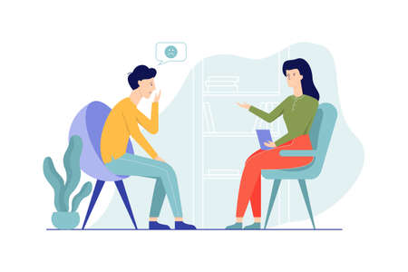 Illustration pour Sad man sitting on the chair talking to female psychologist. Visit to psychiatrist and depression treatment. Mental health professional. Isolated flat vector illustration - image libre de droit