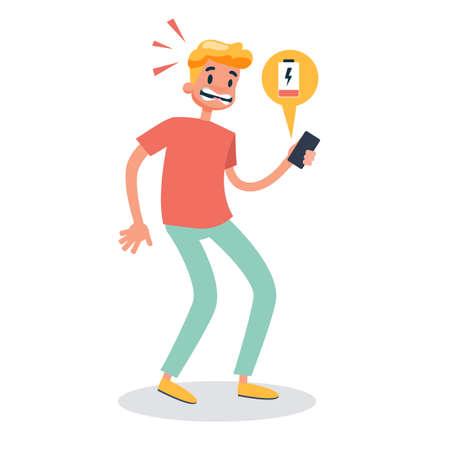 Ilustración de Man looking in panic at the phone with low battery. Lack of energy. Vector illustration in cartoon style - Imagen libre de derechos