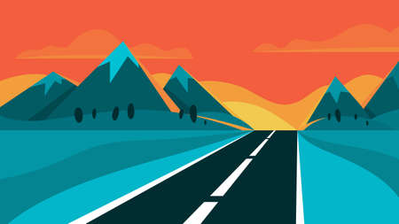 Illustration pour Highway and evening landscape. Mountain on the background. Travel and journey concept. Asphalt road. Vector illustration in cartoon style - image libre de droit