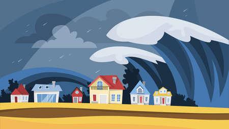 Illustration pour Tsunami disaster. Big wave cover the village - image libre de droit