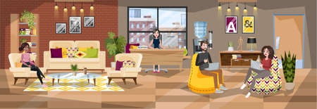 Illustration pour Office building interior. Reception room with administrator and visitor. Office worker and client. Woman waiting in the hall. Vector illustration in cartoon style - image libre de droit