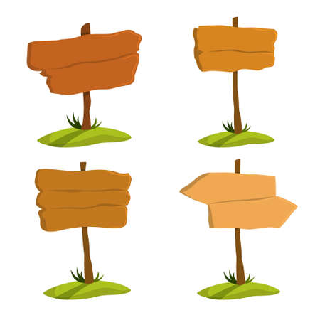 Illustration for Wooden signboard set. Collection of various sign made of wood. Blank billboard, empty space for message. Isolated flat vector illustration - Royalty Free Image