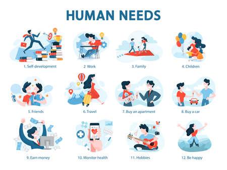Illustration pour Human needs set. Personal development and self-esteem - image libre de droit