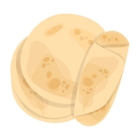 Illustration pour Pita bread. Tasty food, delicious handmade meal. Fresh tortilla. - image libre de droit