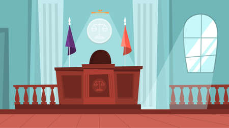 Illustration pour Court building interior with empty courtroom. Trial process - image libre de droit