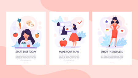 Ilustración de Diet set of mobile banner concept. Woman eat healthy - Imagen libre de derechos