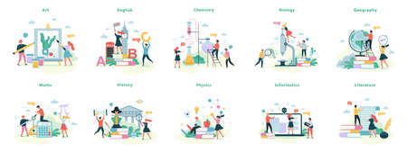 Illustration for School subject set. Idea of education and science - Royalty Free Image