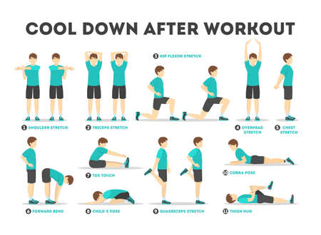 Foto de Cool down after workout exercise set. Collection - Imagen libre de derechos