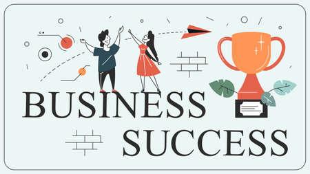 Illustration pour Success concept. Winning in competition. Getting reward - image libre de droit