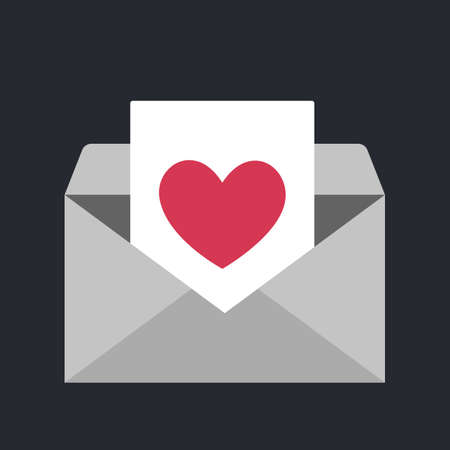 Illustration pour Enveope icon with heart symbol. Idea of love message and valentine day. Romantic email. Isolated vector illustration in flat style - image libre de droit