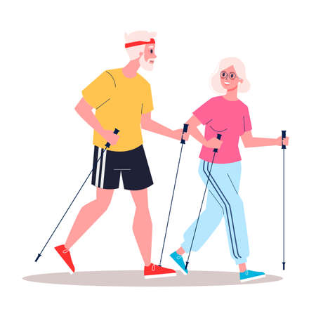 Illustration for Retired cople having a healthy lifestyle. Nordic walking. - Royalty Free Image