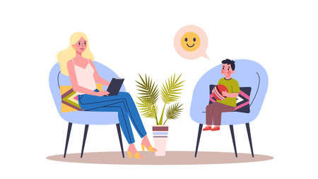 Ilustración de People talking to psychologist. Child talking about his problem and emotion, getting professional treatment. Talking to therapist. Mental health support. Vector illustration on white background - Imagen libre de derechos