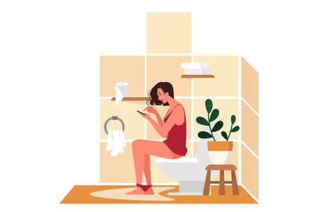 Illustration pour Daily routine of a woman. Woman sitting on the toilet - image libre de droit