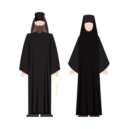 Illustration pour Religion people wearing specific uniform. Male and female religious figure. Christian monk. Flat vector illustration - image libre de droit