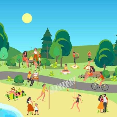Illustration pour City park landscape. People enjoying being outside, doing sport - image libre de droit