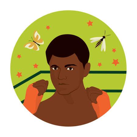 Illustration pour Black history month concept. Famous Afro American professional boxer, activist, and philanthropist Muhammad Ali. Vector flat Illustration - image libre de droit