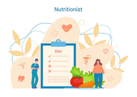 Illustration pour Nutritionist concept. Doctor help woman get in fit with healthy food and physical activity. Calorie control and diet concept. Idea of weight loss. Vector illustration in cartoon style - image libre de droit